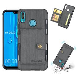 Brush Multi-function Leather Phone Case for Huawei Y9 (2019) - Gray