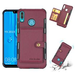 Brush Multi-function Leather Phone Case for Huawei Y9 (2019) - Wine Red