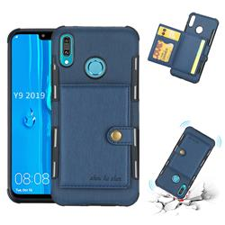 Brush Multi-function Leather Phone Case for Huawei Y9 (2019) - Blue