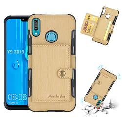Brush Multi-function Leather Phone Case for Huawei Y9 (2019) - Golden