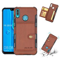 Brush Multi-function Leather Phone Case for Huawei Y9 (2019) - Brown