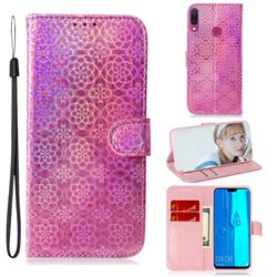Laser Circle Shining Leather Wallet Phone Case for Huawei Y9 (2019) - Pink
