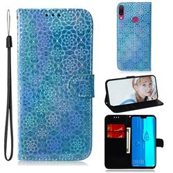 Laser Circle Shining Leather Wallet Phone Case for Huawei Y9 (2019) - Blue