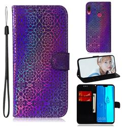 Laser Circle Shining Leather Wallet Phone Case for Huawei Y9 (2019) - Purple