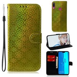 Laser Circle Shining Leather Wallet Phone Case for Huawei Y9 (2019) - Golden