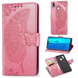 Embossing Mandala Flower Butterfly Leather Wallet Case for Huawei Y9 (2019) - Pink