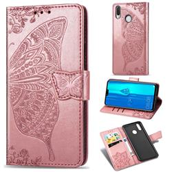 Embossing Mandala Flower Butterfly Leather Wallet Case for Huawei Y9 (2019) - Rose Gold
