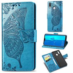 Embossing Mandala Flower Butterfly Leather Wallet Case for Huawei Y9 (2019) - Blue