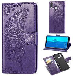 Embossing Mandala Flower Butterfly Leather Wallet Case for Huawei Y9 (2019) - Dark Purple