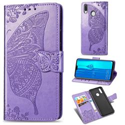Embossing Mandala Flower Butterfly Leather Wallet Case for Huawei Y9 (2019) - Light Purple