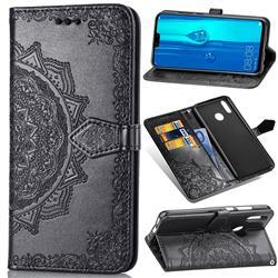 Embossing Imprint Mandala Flower Leather Wallet Case for Huawei Y9 (2019) - Black