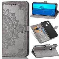 Embossing Imprint Mandala Flower Leather Wallet Case for Huawei Y9 (2019) - Gray