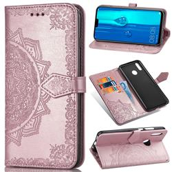 Embossing Imprint Mandala Flower Leather Wallet Case for Huawei Y9 (2019) - Rose Gold