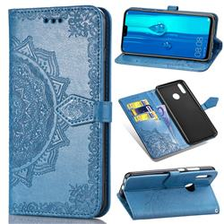 Embossing Imprint Mandala Flower Leather Wallet Case for Huawei Y9 (2019) - Blue