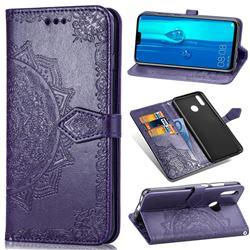 Embossing Imprint Mandala Flower Leather Wallet Case for Huawei Y9 (2019) - Purple