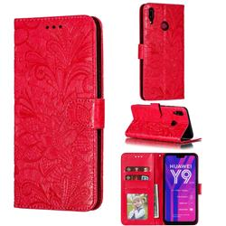 Intricate Embossing Lace Jasmine Flower Leather Wallet Case for Huawei Y9 (2019) - Red