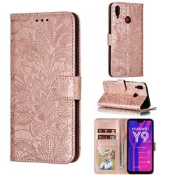 Intricate Embossing Lace Jasmine Flower Leather Wallet Case for Huawei Y9 (2019) - Rose Gold