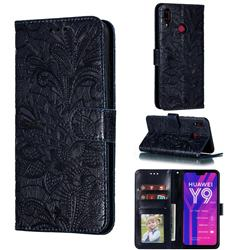 Intricate Embossing Lace Jasmine Flower Leather Wallet Case for Huawei Y9 (2019) - Dark Blue