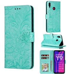 Intricate Embossing Lace Jasmine Flower Leather Wallet Case for Huawei Y9 (2019) - Green