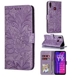 Intricate Embossing Lace Jasmine Flower Leather Wallet Case for Huawei Y9 (2019) - Purple
