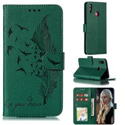 Intricate Embossing Lychee Feather Bird Leather Wallet Case for Huawei Y9 (2019) - Green
