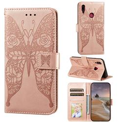 Intricate Embossing Rose Flower Butterfly Leather Wallet Case for Huawei Y9 (2019) - Rose Gold