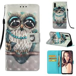 Sweet Gray Owl 3D Painted Leather Wallet Case for Huawei Y9 (2019)