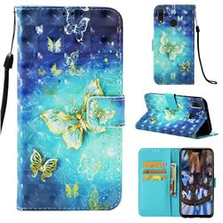 Gold Butterfly 3D Painted Leather Wallet Case for Huawei Y9 (2019)