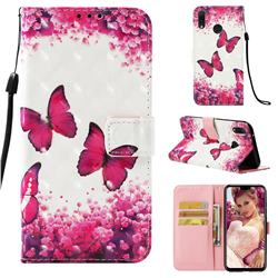 Rose Butterfly 3D Painted Leather Wallet Case for Huawei Y9 (2019)