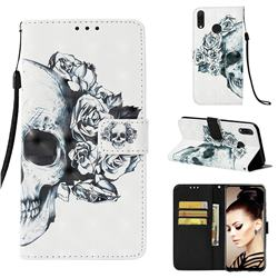 Skull Flower 3D Painted Leather Wallet Case for Huawei Y9 (2019)