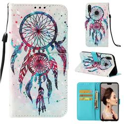 ColorDrops Wind Chimes 3D Painted Leather Wallet Case for Huawei Y9 (2019)