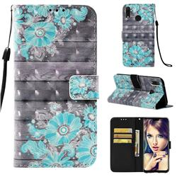 Blue Flower 3D Painted Leather Wallet Case for Huawei Y9 (2019)