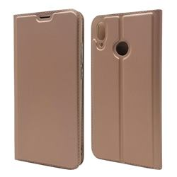 Ultra Slim Card Magnetic Automatic Suction Leather Wallet Case for Huawei Y9 (2019) - Rose Gold