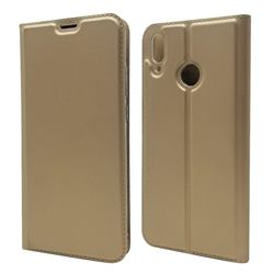 Ultra Slim Card Magnetic Automatic Suction Leather Wallet Case for Huawei Y9 (2019) - Champagne