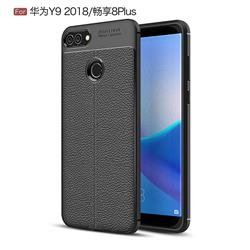 Luxury Auto Focus Litchi Texture Silicone TPU Back Cover for Huawei Y9 (2018) - Black