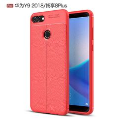 Luxury Auto Focus Litchi Texture Silicone TPU Back Cover for Huawei Y9 (2018) - Red