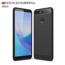 Luxury Carbon Fiber Brushed Wire Drawing Silicone TPU Back Cover for Huawei Y9 (2018) - Black