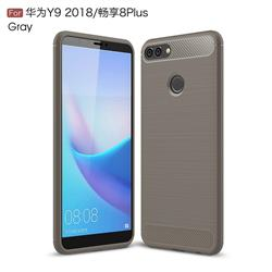 Luxury Carbon Fiber Brushed Wire Drawing Silicone TPU Back Cover for Huawei Y9 (2018) - Gray