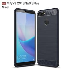 Luxury Carbon Fiber Brushed Wire Drawing Silicone TPU Back Cover for Huawei Y9 (2018) - Navy