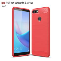 Luxury Carbon Fiber Brushed Wire Drawing Silicone TPU Back Cover for Huawei Y9 (2018) - Red