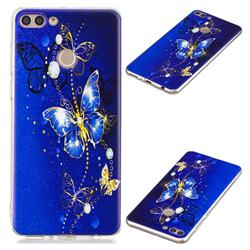 Gold and Blue Butterfly Super Clear Soft TPU Back Cover for Huawei Y9 (2018)