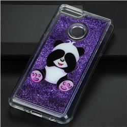 Naughty Panda Glassy Glitter Quicksand Dynamic Liquid Soft Phone Case for Huawei Y9 (2018)