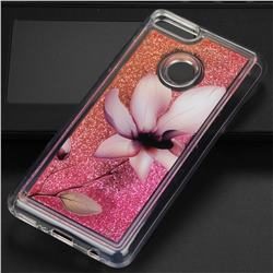 Lotus Glassy Glitter Quicksand Dynamic Liquid Soft Phone Case for Huawei Y9 (2018)