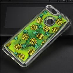 Pineapple Glassy Glitter Quicksand Dynamic Liquid Soft Phone Case for Huawei Y9 (2018)