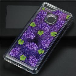 Purple Grape Glassy Glitter Quicksand Dynamic Liquid Soft Phone Case for Huawei Y9 (2018)