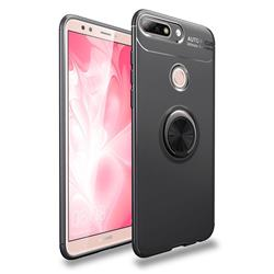 Auto Focus Invisible Ring Holder Soft Phone Case for Huawei Y9 (2018) - Black