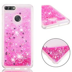Dynamic Liquid Glitter Quicksand Sequins TPU Phone Case for Huawei Y9 (2018) - Rose
