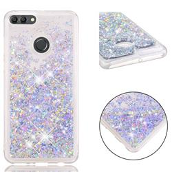 Dynamic Liquid Glitter Quicksand Sequins TPU Phone Case for Huawei Y9 (2018) - Silver
