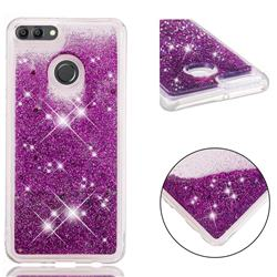 Dynamic Liquid Glitter Quicksand Sequins TPU Phone Case for Huawei Y9 (2018) - Purple