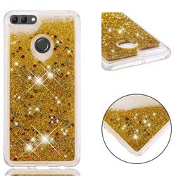Dynamic Liquid Glitter Quicksand Sequins TPU Phone Case for Huawei Y9 (2018) - Golden